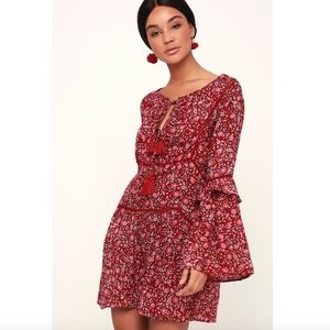 Amuse Society red floral long sleeve dress